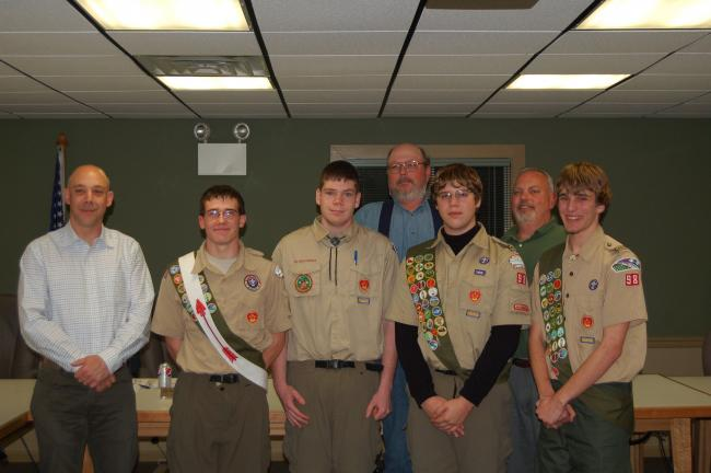 LINDA KOEHLER/TIMES NEWS Chestnuthill Township supervisors recognized the hard work four Boy Scouts did in Chestnuthill Township Park as they worked on their Eagle Scout projects. They are, left to right, Chris Eckert (supervisor), Zack Boulangerk,…