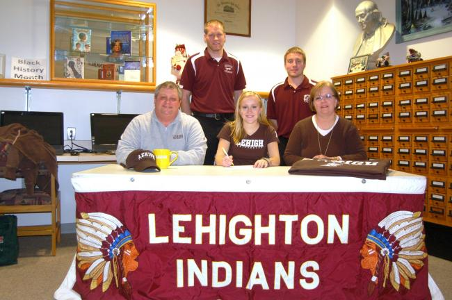 Rachel Werley of Lehighton signs a Letter of Intent to attend Lehigh University and play field hockey. Joining her for the signing are, front row, from left, her father Paul Werley, Rachel, and her mother Kim Werley. Back row, Lehightn Athletic…