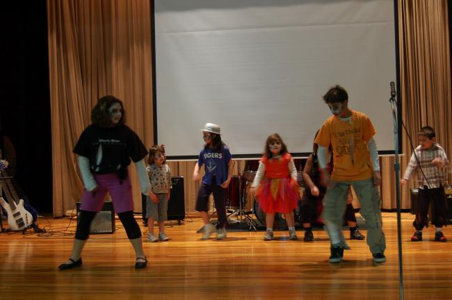"Gail Maholick/TIMES NEWS Tatiana, Antigone, Guadalupe and Miquel Gonzalez, Maximus Fizpatrick and Cecelia and Sophia Sarnowski performed, ""Thriller: a tribute to Michael Jackson,"" during the Ss. Peter and Paul Catholic School annual talent show held…"
