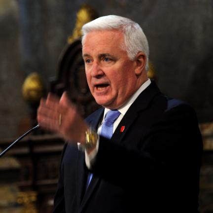 "AP Photo Gov. Tom Corbett unveiled his new budget before the Pennsylvania House Chamber Tuesday, calling it ""lean and demanding."""