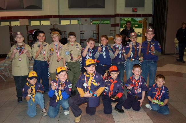 LINDA KOEHLER/TIMES NEWS In the Winner's Circle for the Cub Scout Pack 98 Pinewood Derby are: Front, left to right, Ryan Bonser, Wolf, 1st; Christopher Staunton, Wolf, 2nd; Elijah Heckman, Wolf, 3rd; Mitchell Bordne, Tiger, 1st; Nathan Calhoun,…