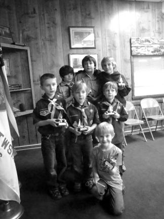 SPECIAL TO THE TIMES NEWS Winners were, from left, front, Emerson Rotella, Siblings Winner; middle row, Billy Drake, Bears Winner; Tristan Stano, Wolves Winner; and Josiah Kimmel, Tigers Winner; and back row, Mason George, Webelos 2 Winner; Logan…