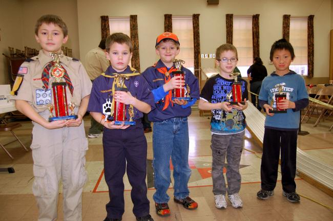 Gail Maholick/TIMES NEWS Winners of the Cub Pack 145, Lehighton, Pinewood Derby, were from left, Andrew Eisenhartd, first; Ronnie Snyder, second; Joshua Glantz, third; Kylen Laudenslager, fourth; and Daniel Hoppes, fifth.
