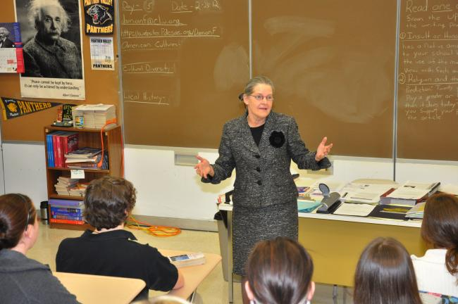 AMY MILLER/TIMES NEWS Pennsylvania Secretary of the Commonwealth Carol Aichele recently conducted a class at Panther Valley High School. She talked about the importance of elections and voting.