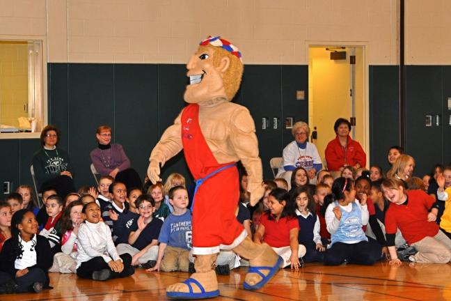 "VICTOR IZZO/SPECIAL TO THE TIMES NEWS Jim Thorpe Area High School mascot ""Herc"" makes his appearance at a morning assembly at Penn Kidder Elementary School for the celebration of BAMMM week."