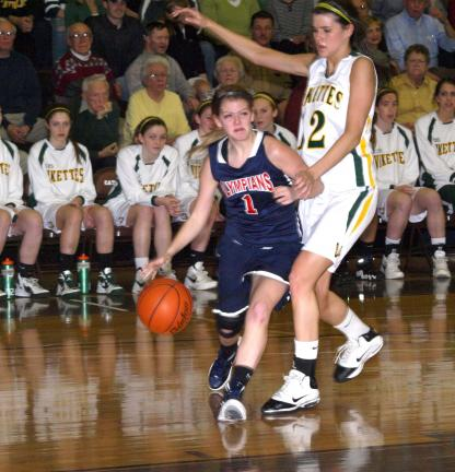 linda Rothrock/special to the times news Jim Thorpe's Jeanna McElmoyle dribbles around Kerry Kinek of Allentown Central Catholic.