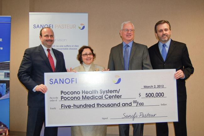 LINDA KOEHLER/TIMES NEWS Pocono Health System/Pocono Medical Center in East Stroudsburg received a $500,000 gift from Sanofi Pasteur to be used for the new Dale and Frances Hughes Cancer Center. It was presented to PMC by Philip Hosbach, vice…
