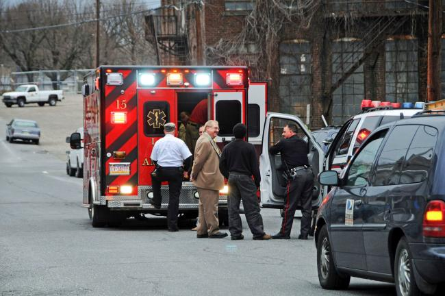 LARRY NEFF/SPECIAL TO THE TIMES NEWS An ambulance gets ready to transport beating victim Paul Walck to the hospital.