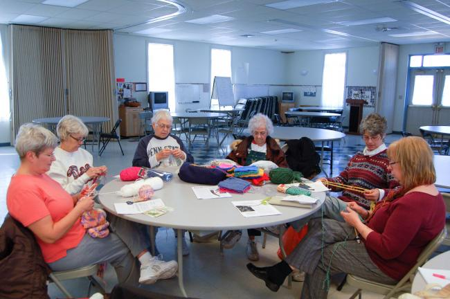 LINDA KOEHLER/TIMES NEWS Left to right, Diane Giffels, Pat Black, Joanne Rush, Amanda Heller, Patty Pierce and Margaret Seligman are all members of Zion United Lutheran Church's Knit and Crochet Club and welcome new members.