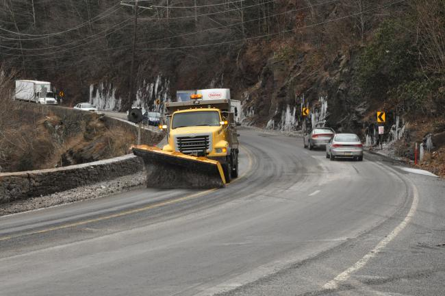 TIMES NEWS FILE PHOTO A snowplow chugs down the Mansion House hill in Jim Thorpe, pushing air.