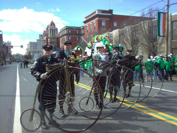 SPECIAL TO THE TIMES NEWS Members of the Victorian Highwheelers of Tamaqua are shown Saturday on Jefferson Avenue in Scranton after winning the Jim Eagen Memorial Award presented by the St. Patrick's Parade Association of Lackawanna County. From…
