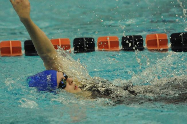 NANCY SCHOLZ/Special to THE TIMES NEWS Palmerton's Katie Pielmeier swims to an 8th place medal in the 200 IM.