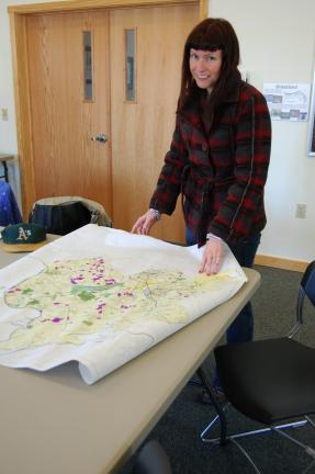 ELSA KERSCHNER/TIMES NEWS Cathy Frankenberg brought a map of the proposed Highlands trail network.