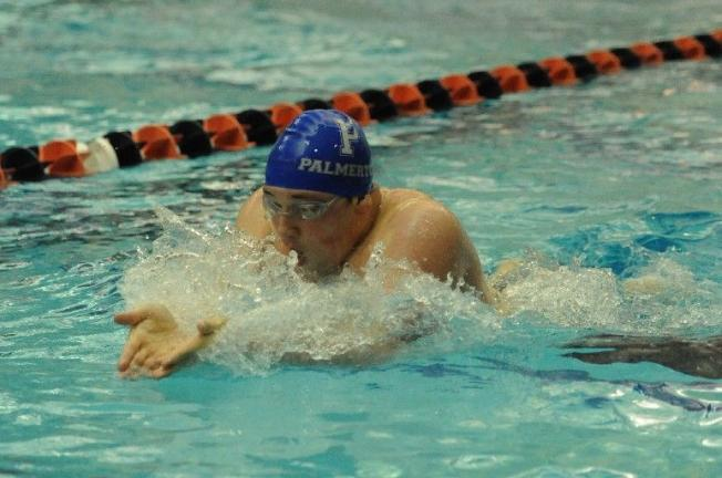 nancy scholz/times news Palmerton's Sawyer Allen competes in the consolation finals of the 100 breaststroke at the PIAA Swim Championships.