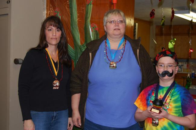 Winners in the Chili Challenge held Saturday at Jerusalem United Church of Christ, Trachsville, were, from right, Matthew Binder who also placed first last year, Kim Williams and Steph Anderson. A small chili bowl was the first place award. Second…