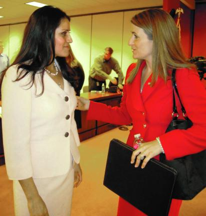 Pamela Varkony/Special to the TIMES NEWS Maria Montero, left, talks with state Rep. Rosemary Brown, 189th District, Monroe and Pike counties, during a speaking engagement.