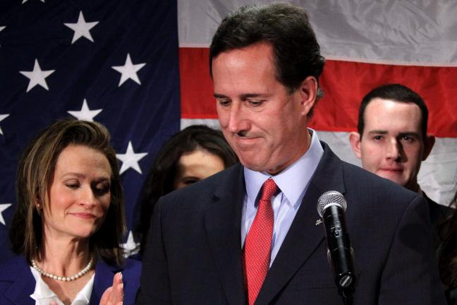 AP PHOTO Rick Santorum announces he is withdrawing from the GOP presidential race.