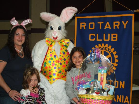 MICHAEL A. HEERY/SPECIAL TO THE TIMES NEWS Lehighton Rotary Club hosted its inaugural Community Easter Egg Hunt last Saturday at Lehighton Recreation Center. Pictured left to right are Lehighton Rotary Club President Erica Heery; four-year-old…