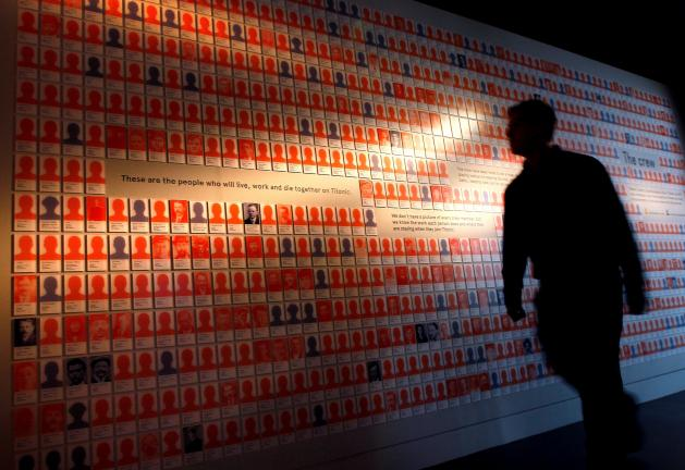 AP Photos A man looks at a display of over 600 staff who worked and died on the Titanic, at SeaCity Museum in Southampton, England. The new museum opened on April 10, 100 years after the ill fated Titanic sailed from the City's docks.