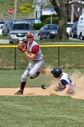 mike Feifel/times news Lehighton's Josh Kern prepares to make a throw to first after forcing out Northern Lehigh's Kris Seiler at second base.