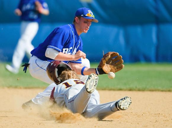 BOB FORD/TIMES NEWS Lehighton's Steve Shanton slides into second base safely as Pleasant Valley's Dan Hrebik takes a late throw. The Bears went on to a 10-0 victory.