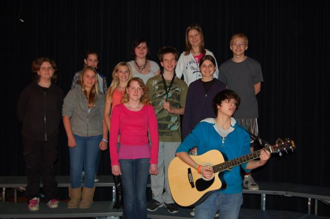 "LINDA KOEHLER/TIMES NEWS Members of the Palmerton Jr. High Chorus practice ""Frim Fram Sauce"" for the junior/senior band and chorus concert Thursday, April 26, 7 p.m. in the high school auditorium."