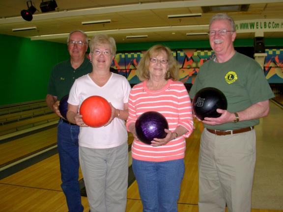 ADELE R. ARGOT/SPECIAL TO THE TIMES NEWS Husband and wife teams at the Western Pocono Lions Club bowl-a-thon included these duos: Lion Matt and Pat Held, left, Carol and Lion Dave Rowan Rowan, left. Another bowling couple from the club was Lion…