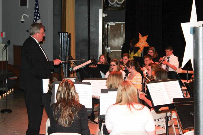 CAROL ZICKLER/SPECIAL TO THE TIMES NEWS Some of the Panther Valley High School musicians perform a number under the direction of Mark Christ.