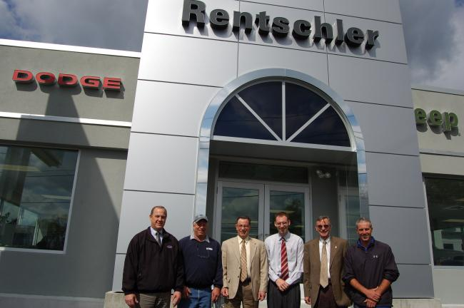 TERRY AHNER/TIMES NEWS Among those pictured in front of the new 4,500-square-foot Rentschler Chrysler-Jeep-Dodge-Ram building in Slatington are (l-r) John Kleintop, general manager, Chrysler, Bob Merkel, Pencor Electric, Rick Rentschler, co-owner,…