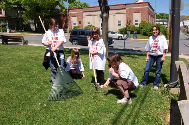 Gail Maholick/TIMES NEWS Taking part in the clean up coordinated by Lehighton Downtown Initiative Committee were several youngsters who are part of the Kings Club at Bethany E.C. Church, Lehighton. From left are Zoya Dobosh, Simone Dobosh, Rebecca…