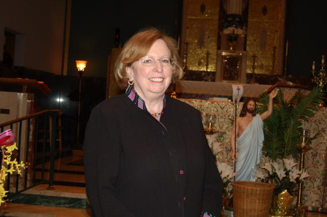 TERRY AHNER/TIMES NEWS Helen P. Kelleher, secretary for Catholic Human Services, and Executive Director for Catholic Charities, Diocese of Allentown, spoke during a mass Sunday at Sacred Heart Parish in Palmerton.