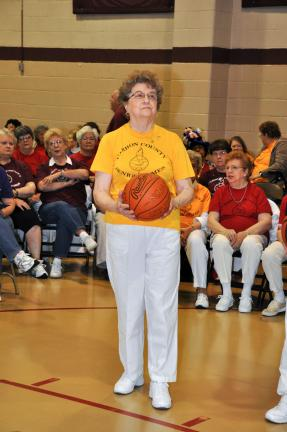 AMY MILLER/TIMES NEWS Sue Dopira of the Panther Valley seniors eyes the hoop during the basketball shoot event of the 2012 Carbon County Senior Games. The games will run until May 10.