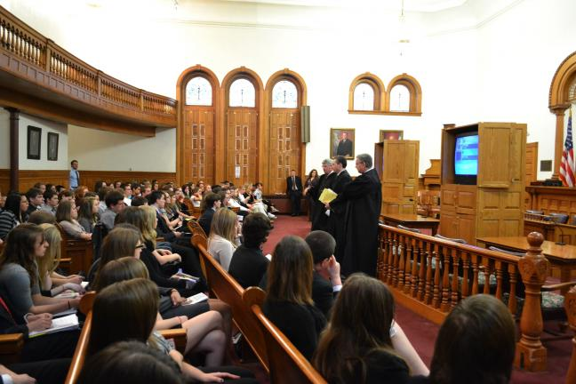 SHERI RYAN/SPECIAL TO THE TIMES NEWS From left, Judges Roger N. Nanovic, Steven R. Serfass and Joseph J. Matika address the students during Carbon County Law Day.