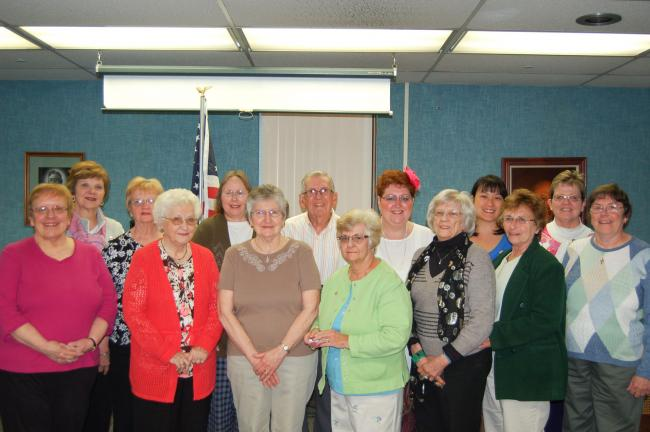 LINDA KOEHLER/TIMES NEWS The Palmerton Hospital Auxiliary presented certificates and pins to its dedicated volunteers. Some of those that received them are: front row, left to right-Gayle Eckhart, Belva Greene, Alice Frable, Nan Campton, Bernice…