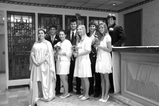 SPECIAL TO THE TIMES NEWS Marian Catholic High School held it's annual May Crowning on Friday. Emily Burger, front row, far left, was the May Queen. With her are court members, front row from left, Jeanne Cannon, Shannon Skotek and Carli Possessky…