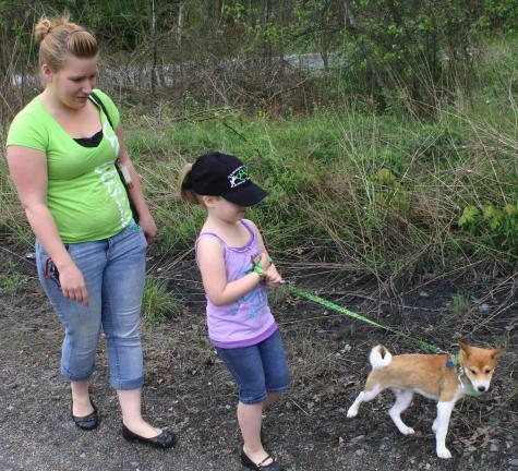 "ANDREW LEIBENGUTH/TIMES NEWS Megan Miller walks with her daughter, Anna, 6, and their 3-month old dog ""Teddy."""