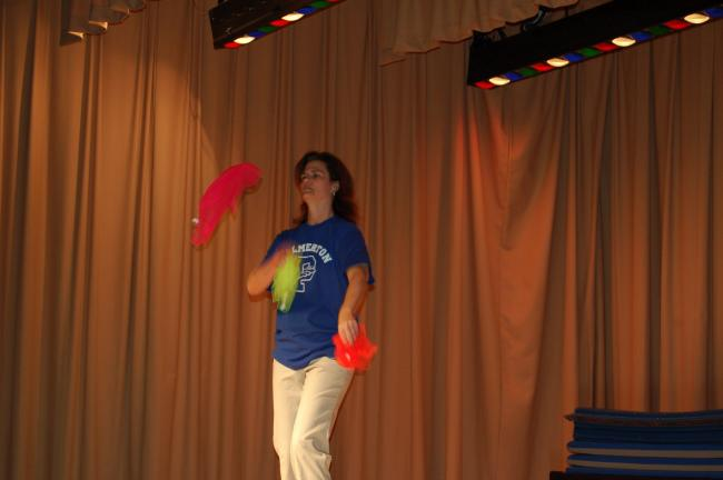 "LINDA KOEHLER/TIMES NEWS Mrs. Christine Steigerwalt, the principal at Towamensing Elementary, wowed the audience with her amazing scarf juggling to The ""William Tell Overture"" by Gioachino Rossini."
