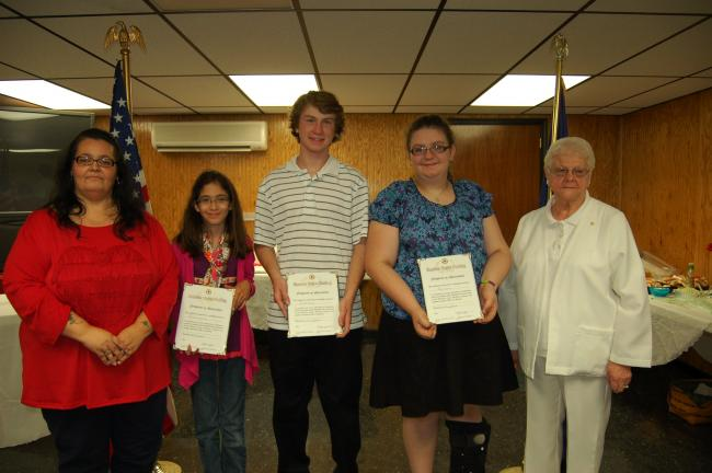 Gail Maholick/TIMES NEWS Lehighton area students were recognized for winning first place in their age category in the Shoemaker-Haydt American Legion Auxiliary Unit 314, Lehighton, Americanism essay contest. Winners were presented a $25 cash prize…