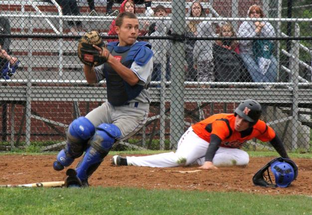 Linda Rothrock/Special to THE TIMES NEWS Pleasant Valley's Connor Cardenas looks towards second base after Northampton's Jeff Sell scores on a base hit.