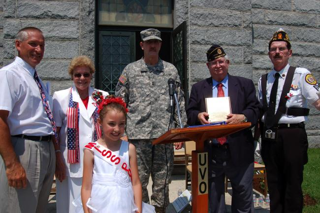 Gail Maholick/TIMES NEWS Taking part in the Memorial Day services at the Lehighton Cemetery were, from left, Lehighton Mayor Donald Rehrig, LaRue Fritz, Lehighton American Legion Auxiliary Unit 314 poppy chairman, Madison Brown, Miss Poppy; Major…