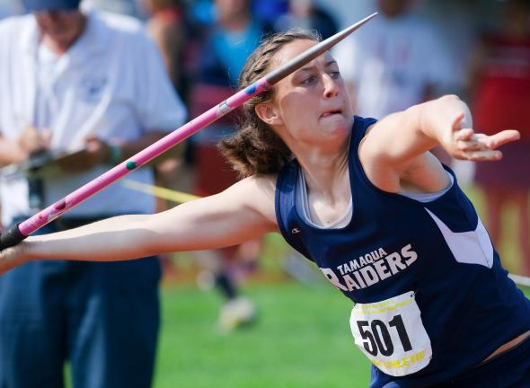 bob ford/times news Tamaqua's Christine Streisel winds up to release a throw in the javelin during Saturday's PIAA Championships. Streisel won a silver medal in the event.