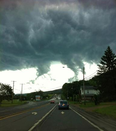 VINCENT CHITSWARA/SPECIAL TO THE TIMES NEWS As seen from SR309 in West Penn Township, these cloud formations resemble mini tornadoes, although no official sightings of tornadoes were reported by the NOAA. Recent weather has made for strange and…
