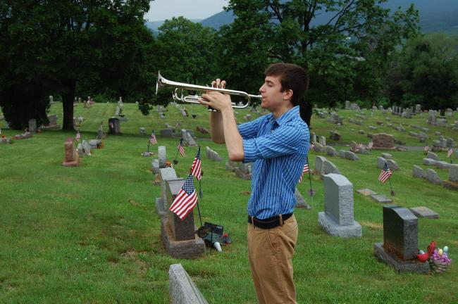 "Marc Beleno of Northern Lehigh High School played ""Taps"" for the Memorial Day services at Fairview Cemetery and 10 other sites."