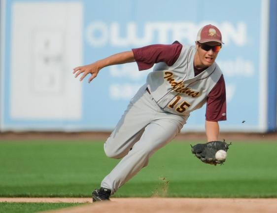 bob ford/times news Lehighton's A.J. Wenrich charges in to scoop up an infielder grounder.