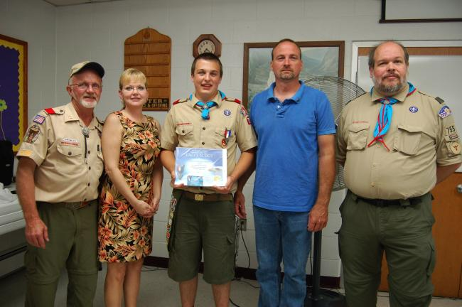 Gail Maholick/TIMES NEWS Garred Ahner attained the rank of Eagle Scout during an Eagle Court of Honor held May 26, 2012 at Ben Salem United Church of Christ. From left are, Marlin Tyson, former Scoutmaster of Troop 755; Margie Frey, his mother,…