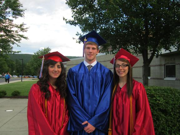 HEATHER BACSICK/SPECIAL TO THE TIMES NEWS Salutatorian, Michelle O'Toole; Class President, Benjamin Moore; and Valedictorian, Kayla Susko. Each graduate spoke at the commencement ceremony.