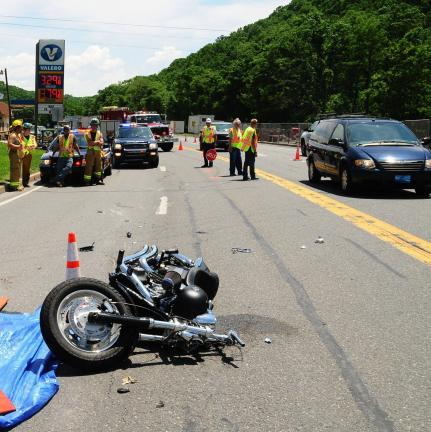 Larry Neff/special to the Times News A Pottsville man was killed after losing control of his motorcycle Friday on Route 309 near the West Penn Township-Tamaqua line.