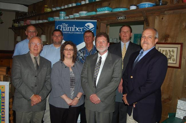 TERRY AHNER/TIMES NEWS Representatives from Greater Northern Lehigh Chamber of Commerce and Palmerton Area Chamber of Commerce who met Tuesday at Neff's Hotel OtherSide Restaurant in Neff's included (front row, l-r) Walter Niedermeyer, mayor,…