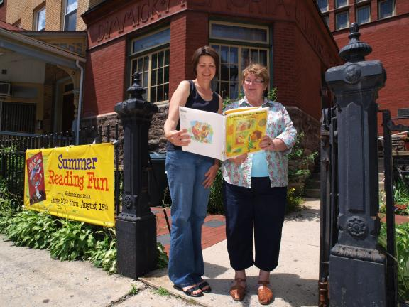 Al Zagofsky/special to the time news The Dimmick Memorial Library's Summer Reading Program is coordinated by Janet Hydro (left) and Dimmick Library staff member Charlotte Kriley.