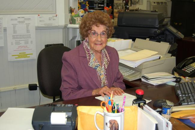 CHRIS PARKER/TIMES NEWS At age 82, Eloise Hinterleiter is still on the job as Weatherly Borough secretary.